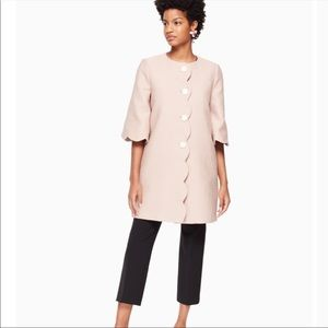 NWT Kate Spade Scalloped Tweed Blush Coat Size 4